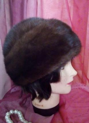 Роскошная норковая шапка/норковая шапка/берет/боярка/меховая ш...