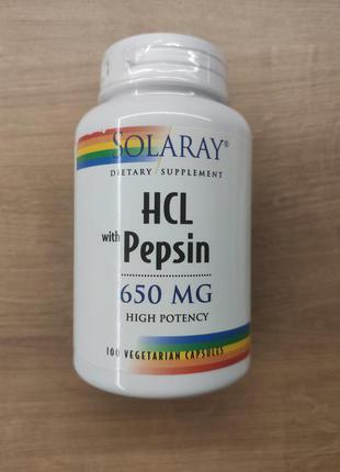 Solaray, гидрохлорид с пепсином 650 мг, бетаин hcl with pepsin