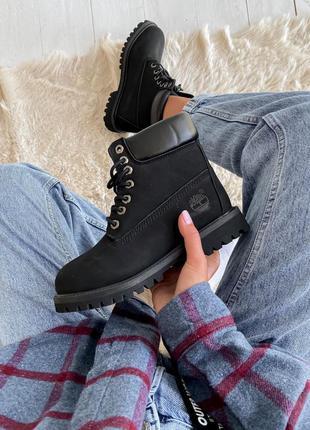 Timberland 6 inch premium black женские кожаные осенние черног...