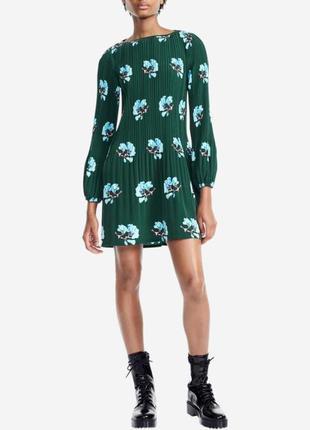 Maje paris оригинал зеленое платье плиссе с длинным рукавом
