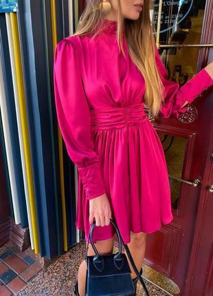 Шелковое платье с длинным рукавом
