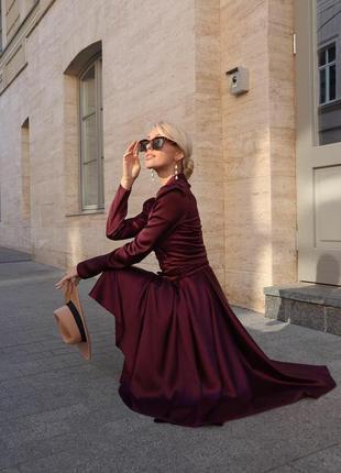 Шелковое пышное платье с юбкой-солнце и рукавом фонарик завязы...