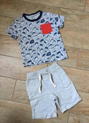 Gap комплект для мальчика 3-4года 3т {футболка, шорты} котон