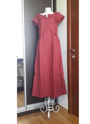 Платье из льна в стиле бохо цвета марсала