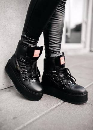 Puma x fenty by rihanna eyelet sneaker boots full black / черн...