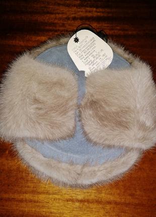 Норковая шапка,мужская шапка из натурального меха,мех серая норка