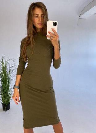 Платье в рубчик с имитацией корсета под грудью хаки