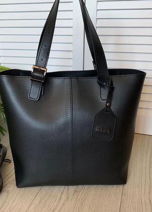 Женская большая сумка формат а4 в черном цвете