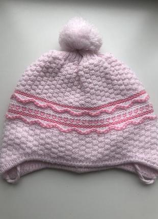 Детская, розовая демисезонная, зимняя шапка
