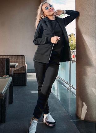 Осенний костюм тройка, свитшот+штаны+жилетка черный