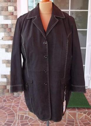 56/58р кожаная куртка большой размер оригинал ulla popken новая