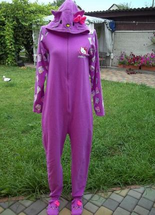 42 / 44 р hello kitty домашний флисовый комбинезон пижама кигу...