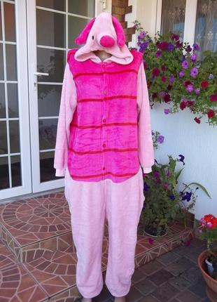 48 р  хрюша флисовый комбинезон пижама кигуруми с вырезом на попе