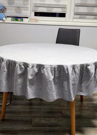 Скатерть на большой круглый стол1,75м серая в горох рогожка