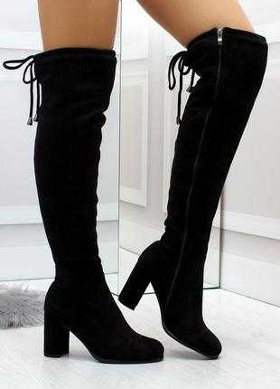 Элегантные черные замшевые женские сапоги ботфорты на удобном ...