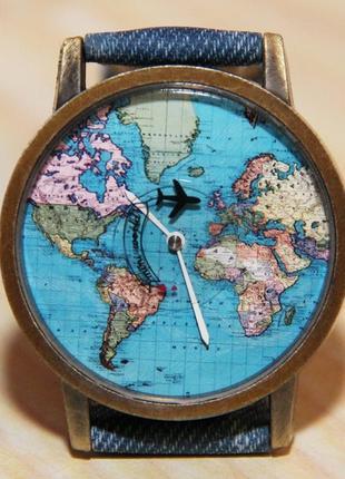 Часы с самолетом. часы карта мира. мужские часы, женские