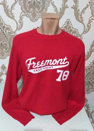 H&m красный мужской свитер, 100% коттон