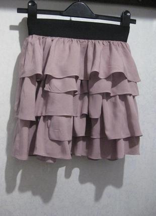 Мини юбка zara воланы слоями розовая пудровая