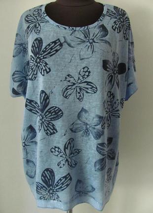 Блуза- футболка удлиненная прямого кроя двух цветов из льна, б...