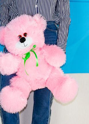 Розовый мягкий мишка 60см. Плюшевый медведь розовый 60см