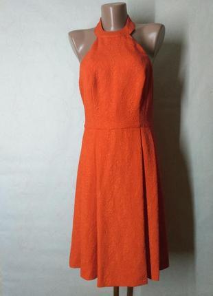 Платье оранжевое с открытой спиной