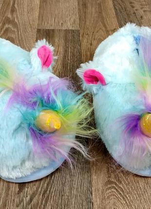 Тапочки тапки единороги голубые с цветной челочкой для кигурум...