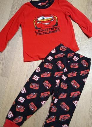 Теплая ,флисовая пижама тачки на 2-3 года