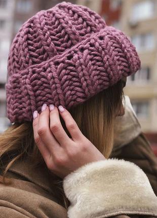 Обьемная шапка крупной вязки зимняя