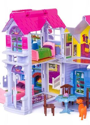 Домик для кукол с фигурками и мебелью. Кукольный домик.