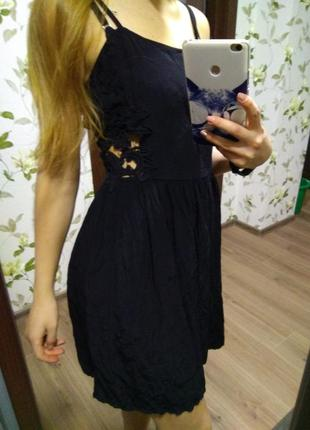 Платье платице сарафан черное красивое кружевное кружево