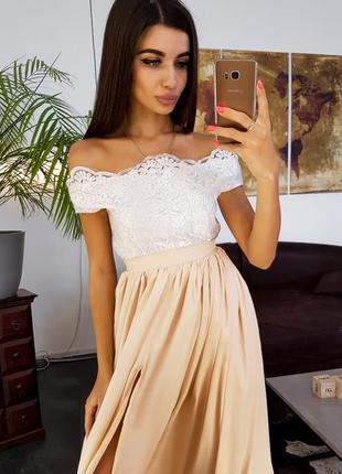Платье макси длинное в пол с разрезом кружевное