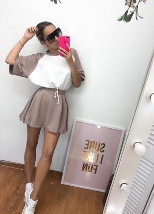 Костюм комплект топ футболка и юбка