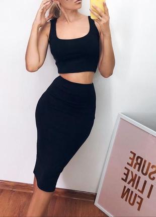 Костюм комплект юбка карандаш миди и топ черный