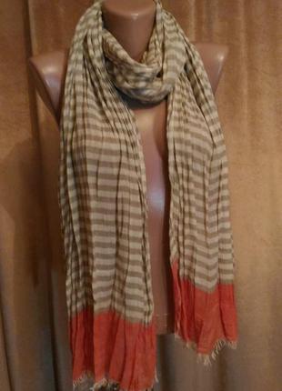 Палантин шарф в полоску цвет коралловый хаки белый вискоза
