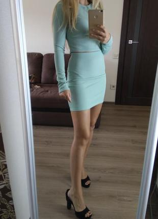 Костюм комплект топ кофта и юбка юбочка