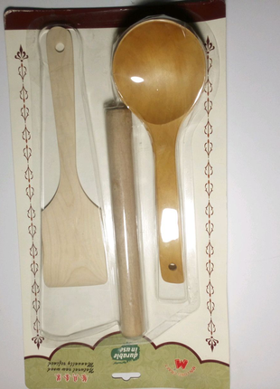 Набір кухонний (качалка, лопатка, ложка)