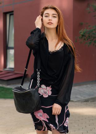 Женская черна сумка Кроссбоди