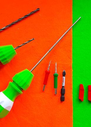 Рукоятка отвёртка тип фиксации- цанга сверла бит 1,5 - 6 мм надфи