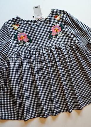 Стильная воздушная блуза с вышивкой цветы рубашка