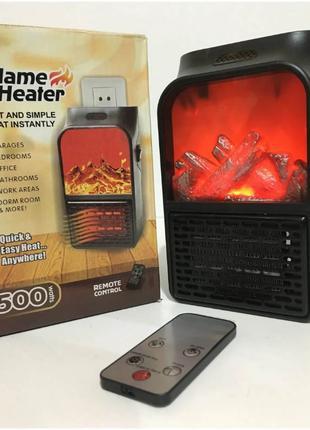 Портативный электрический обогреватель камин Flame Heater пульт