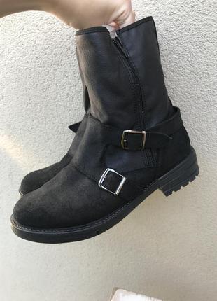 Чёрные замшевые,комбинированные ботинки,ботильоны,сапоги на ме...
