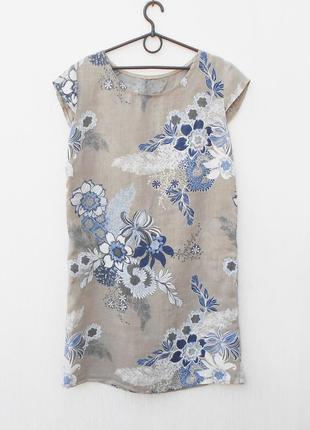Летнее льняное платье в цветочный принт
