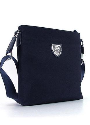 Синяя маленькая мужская сумка через плечо текстильная на молни...