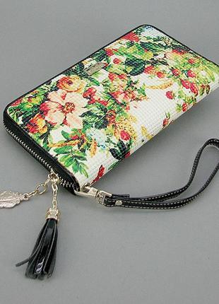 Кожаный женский кошелек на змейке зеленый vf-2048-6608-6