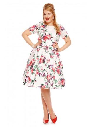 Платье миди в стиле 50-хх цветочный принт #513