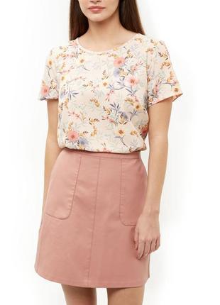 Нюдовый топ с полевым цветочным принтом new look бежевая блузк...