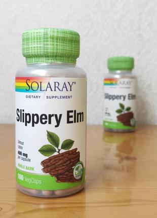 Кора красного вяза Slippery Elm, Solaray, 100 капсул