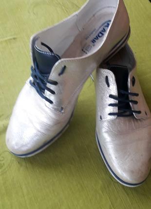 Туфлі кожані срібло