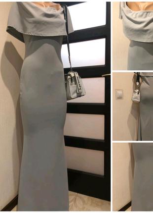 Шикарное серое вечернее платье макси