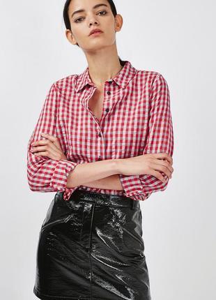 Новая хлопковая рубашка в актуальную красно-бирюзовую клетку г...